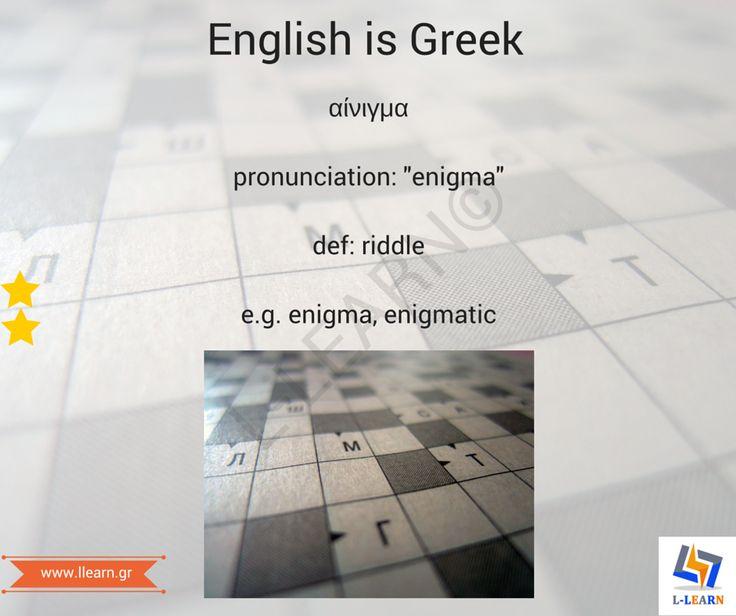 Αίνιγμα.   #English #Greek #language #Αγγλικά #Ελληνικά #γλώσσα #LLEARN