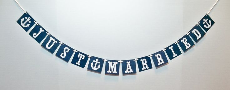 JUST MARRIED banner with anchors/beach wedding/ destination wedding/ car sign/ reception bunting/ photo prop/ can color customize. $14.00, via Etsy.