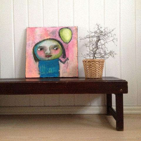 Norwegian artist Kari Anne Marstein. Art on canvas. Akrylmaleri: Original maleri 40x40 cm