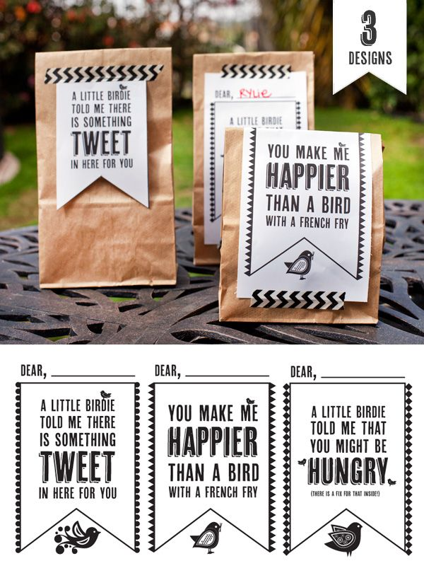 Free Lunch Bag Printables {for lunch & other tweets} #freeprintables #HWTM