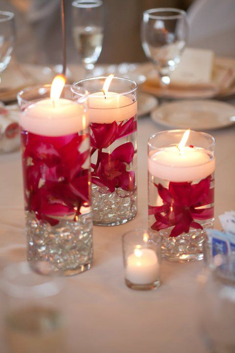 Romantic Floating candles with pink orchids done by Rosemary's Garden