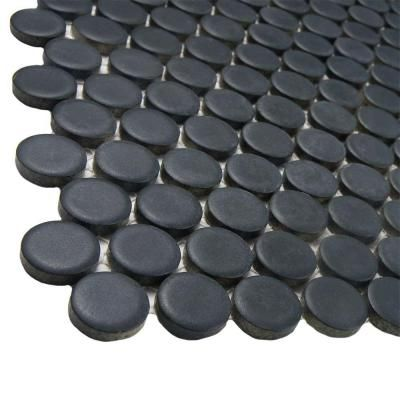 Merola Tile Hudson Penny Round Matte Black 12 in. x 12-1/4 in. x 5 mm Porcelain Mosaic Floor and Wall Tile (10.2 sq. ft. / case)-FKOMPR22 - The Home Depot