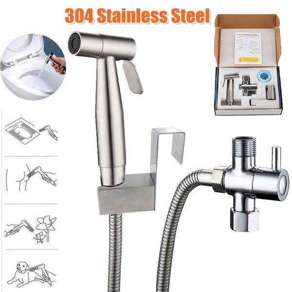 Stainless Steel Handheld Bidet Spray Shower Head Shattaf Toilet Adapter Hose Kit