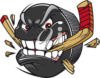 iCLIPART - Clip Art Illustration of a Cartoon Hockey Puck Biting and Breaking a Hockey Stick