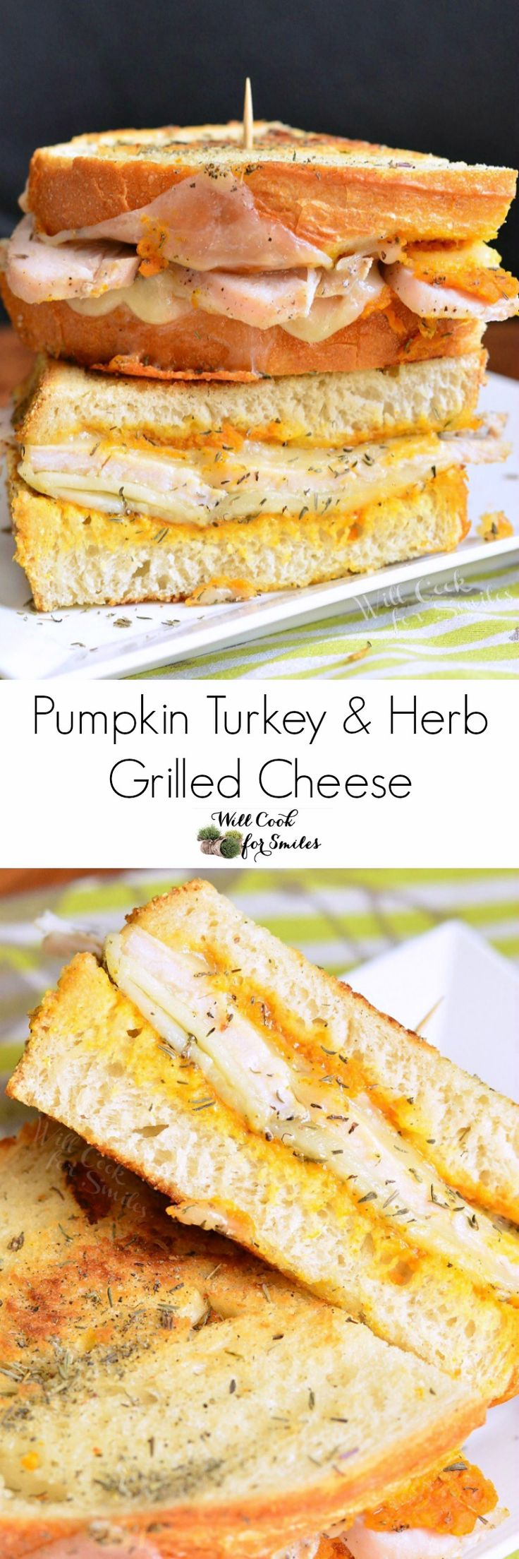 Pumpkin Turkey Grilled Cheese. Tasty turkey grilled cheese made with pumpkin puree, sharp white cheddar cheese, and dried herbs.
