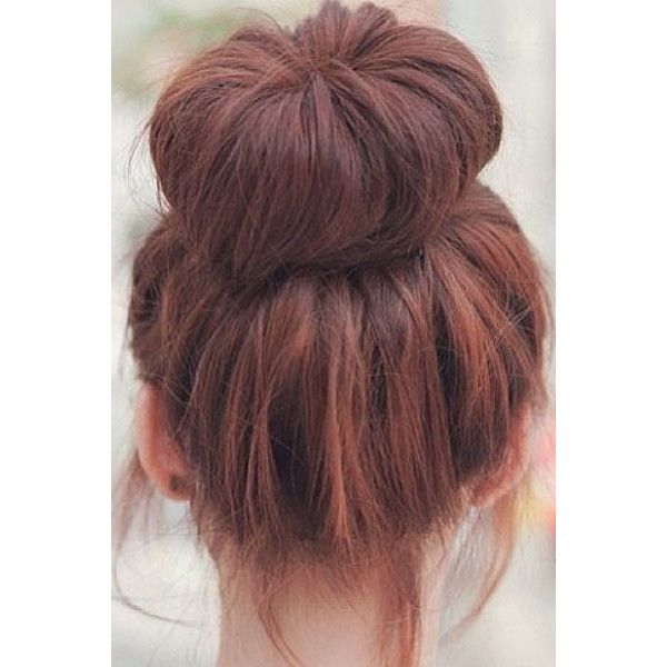 Your Weekend Hairstyle Messy-Chic Buns ❤ liked on Polyvore featuring hair, hairstyles, hair styles, cabelo and beauty