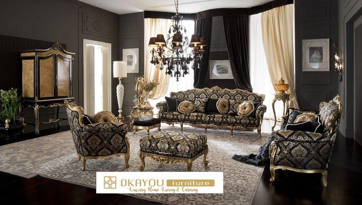 Set Kursi Sofa Tamu Mewah Ukir Gold Sofa Mewah Terbaru