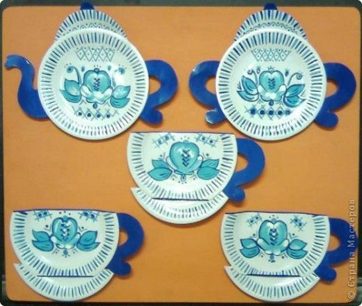Поделка изделие Бумагопластика Кухонный сервиз из бумажных тарелочек гжельская роспись Тарелки одноразовые фото 1