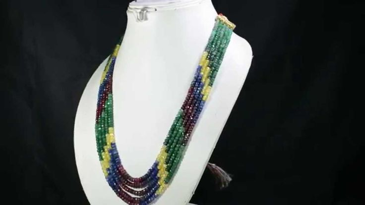 5 Strands Natural Ruby Emerald Sapphire 401ct Multi Row Gemstone Beads N...