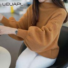 Новая мода осень зима женщин сплошной цвет водолазка Фонарь с длинным Рукавом свитер женский свободные сгущает трикотажные пуловер топы(China (Mainland))