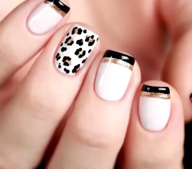 Uñas Nails francesita y animal print