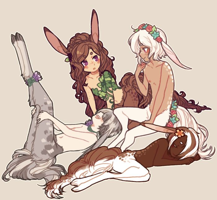 Naked Deer Girl Anime With Flowers Duvet Cover By Tanooklings