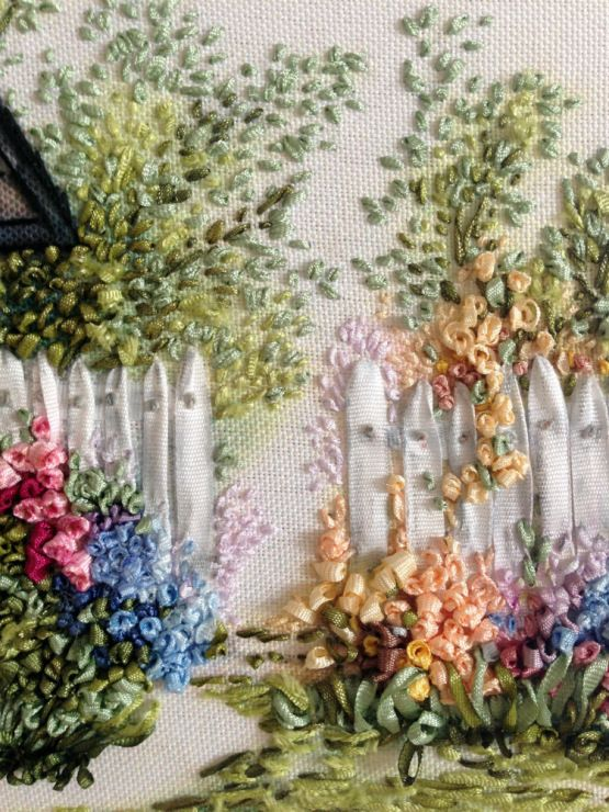 ♒ Enchanting Embroidery ♒ embroidered garden fence and flowers