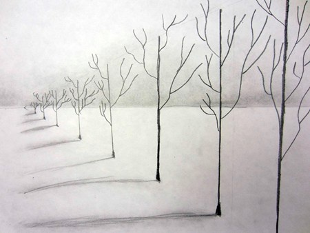 Connor934's art on Artsonia--draw horizon line--then vanishing point--then trees--Don't forget the shadows!  :)