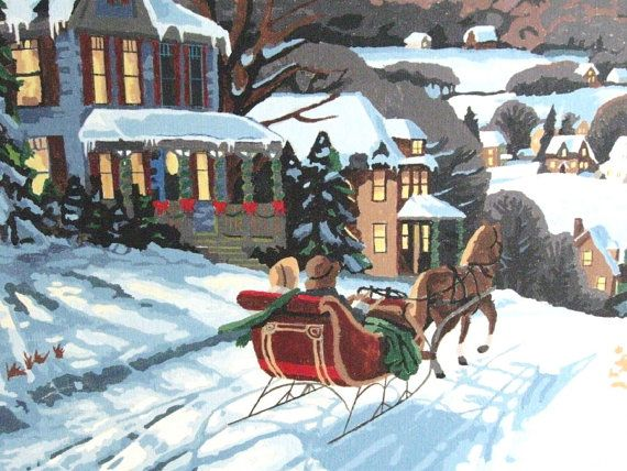 1950s Paint By Numbers Christmas Snow Scene Vintage