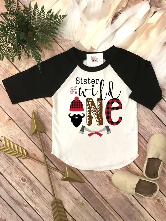 db498da6748 Sister of the Wild One. This adorable Lumberjack Theme Birthday design  features a black beard with a lumberjack beanie and buffalo plaid accents  and some ...