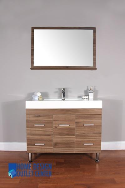 At 8041 Lw 39 Single Modern Bathroom Vanity Set Light Walnut