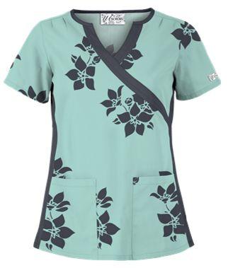 UA Spacious Bouquet Cool Blue Mock Wrap Scrub Top Style # WT863SQT…