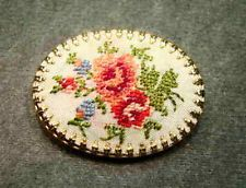 1950s Genuine Needlepoint Floral Goldtone Pin