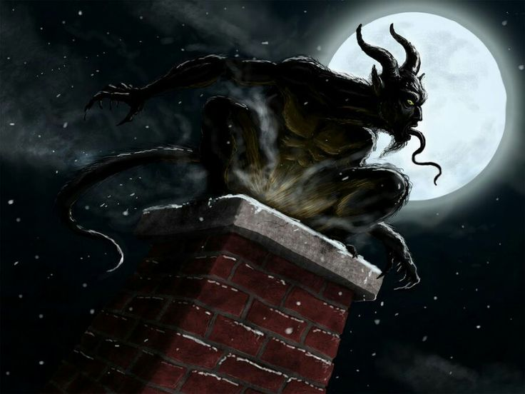 Krampus | In Germanic Folklore, during Yule, there's Santa Claus (who handed out gifts to those who were good) and then there was Krampus (who handed out spankings to those who were naughty.)