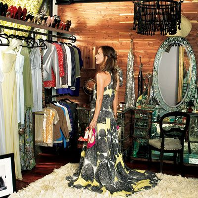 """The centerpiece of #OliviaWilde's walk-in closet is a 19th-century mirrored vanity. """"It's from the South of France and has never been restored,"""" she says. http://www.instyle.com/instyle/package/general/photos/0,,20302958_20180970_20666215,00.html"""