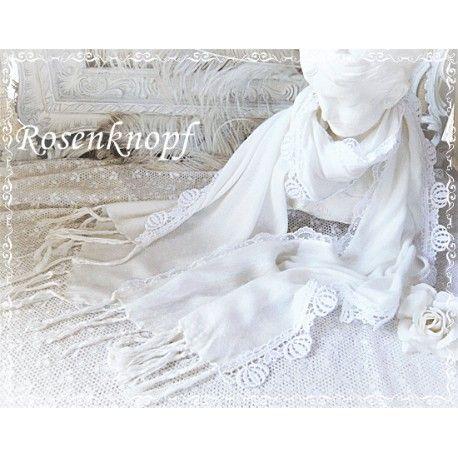 Zartes Tuch aus Baumwolle dessen Längsseiten mit bestickter Tüllspitze und Ätzspitze mit zarten Bögen gesäumt wurden♥