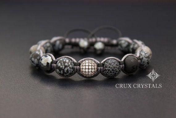 Sneeuwvlok obsidiaan Mens armband edelsteen kralen door CruxCrystals