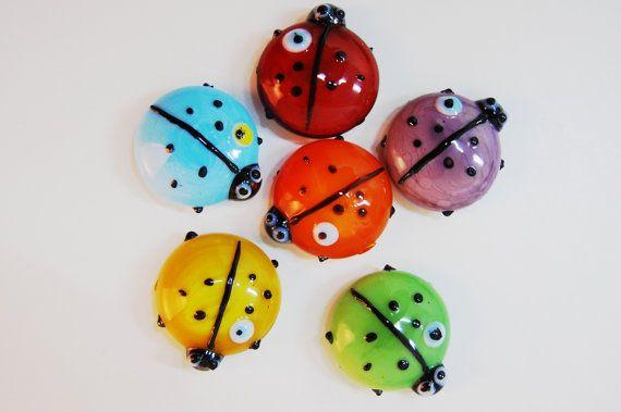 Ladybug Glasswork Handmade Magnet by TheGrandBazaar on Etsy, $3.00