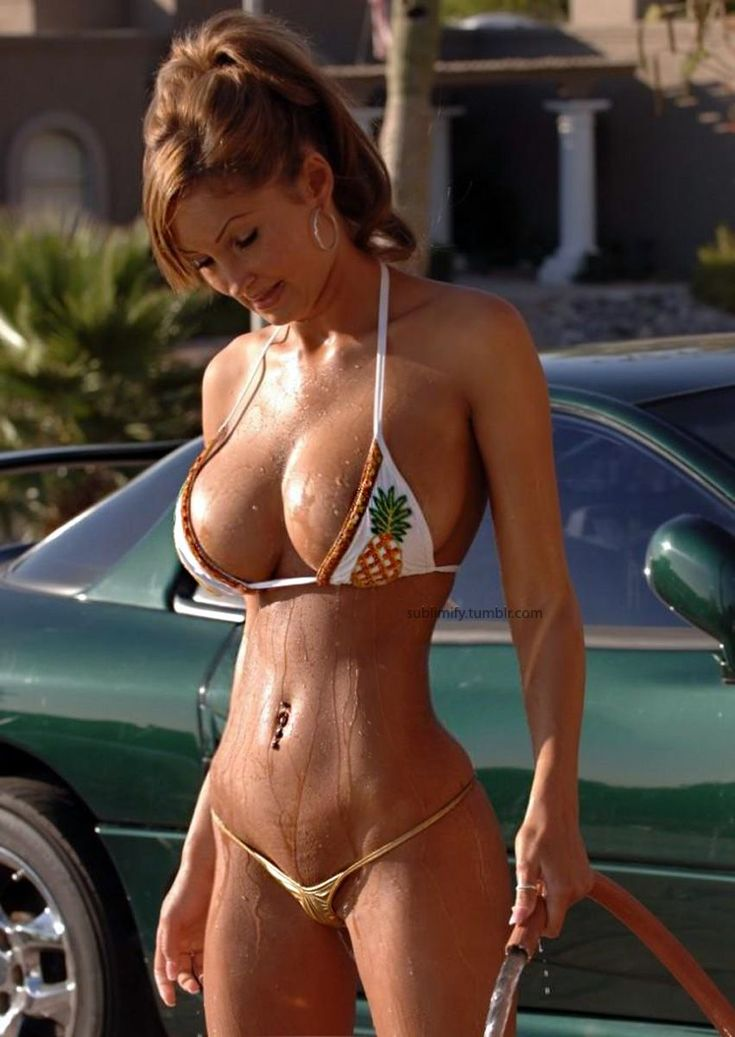 Bikini Girl Washing A Car  Sexy Bathing Suit Beauties -5422