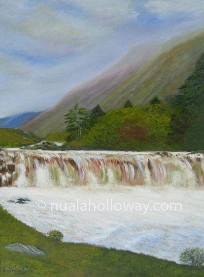 """""""Aasleagh Falls"""" by Nuala Holloway - Oil on Board #AasleaghFalls #Mayo #IrishArt #Waterfall"""