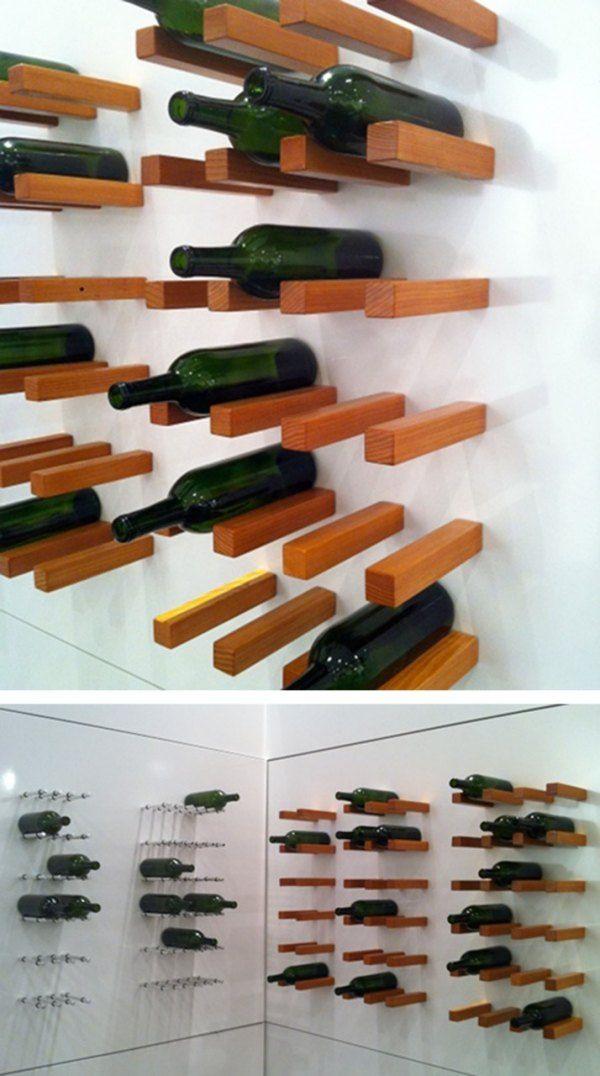porte-bouteilles mural en bois de design original