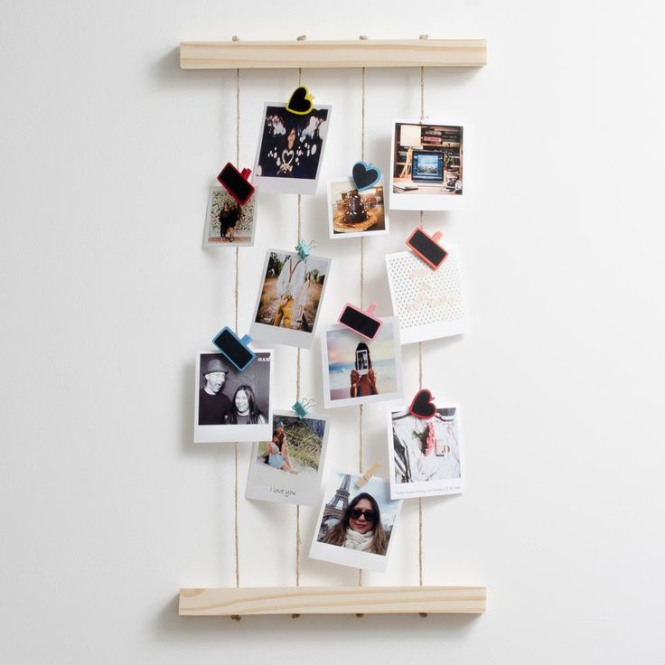 Timeframe's Hanging Peg Photo Display is the perfect way to display your cute Polaroid Prints. Made of stylish wood, this frame goes well with your pics and our pegs.  This frame was made with pine and rope.