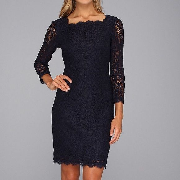 NEW WITH TAGS Adrianna Papell Navy Lace Dress  Never been worn, still has tags, navy blue gorgeous lace dress. 3/4 length sleeves, knee length. Beautiful lace detailing and V-shaped back with full length zipper. Photo credit zappos Adrianna Papell Dresses Long Sleeve