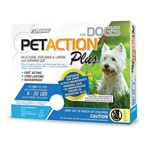 PetAction Plus for Dogs contains the active ingredients fipronil and (S)-methoprene that effectively kills and controls fleas ticks and chewing lice. PetAction Plus for Dogs is fast-acting long-las...