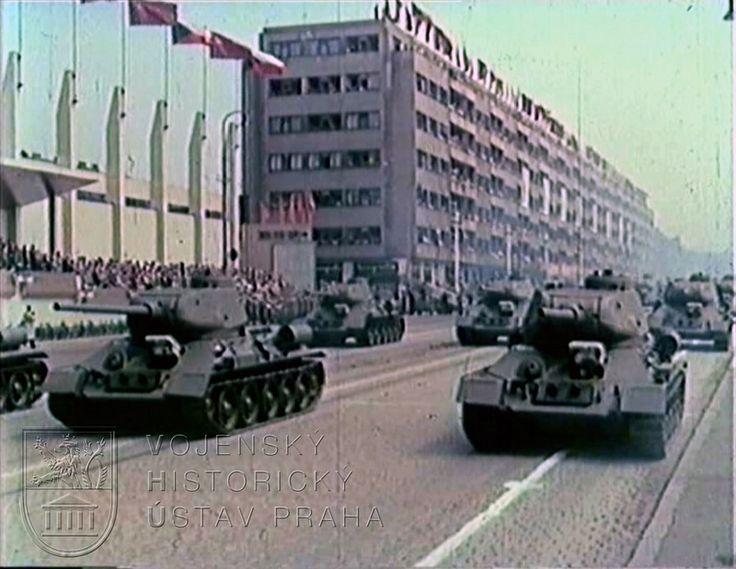 Czechoslovak People's Army T-34-85 medium tanks rolling past Letná Park in Prague at the 1954 Czechoslovakian Liberation Day Parade.