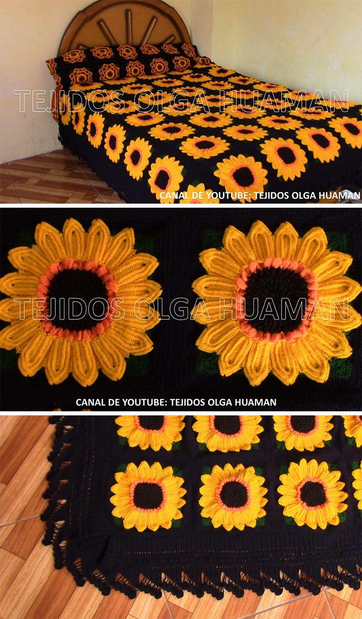 How To Make Crochet Sunflower Blanket Crochetbeja Crochet Sunflower Crochet Square Patterns Crochet Granny Square Blanket