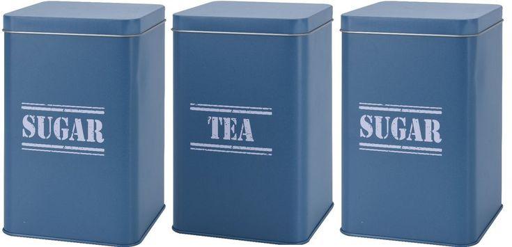 Set of 3 Tea Coffee Sugar Canister Sets In Grey Dark Blue & Light Blue. Retro #Koop #VintageRetro