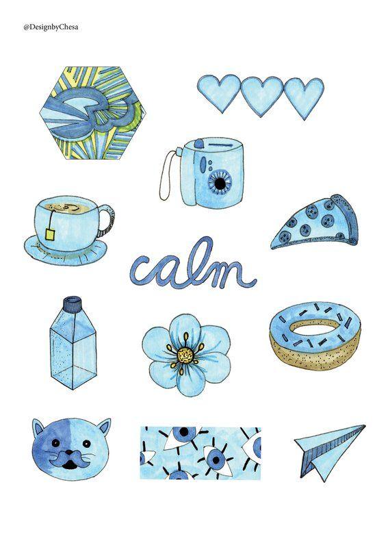 Blue Aesthetic Sticker Pack Etsy In 2020 Aesthetic Stickers Tumblr Stickers Iphone Case Stickers