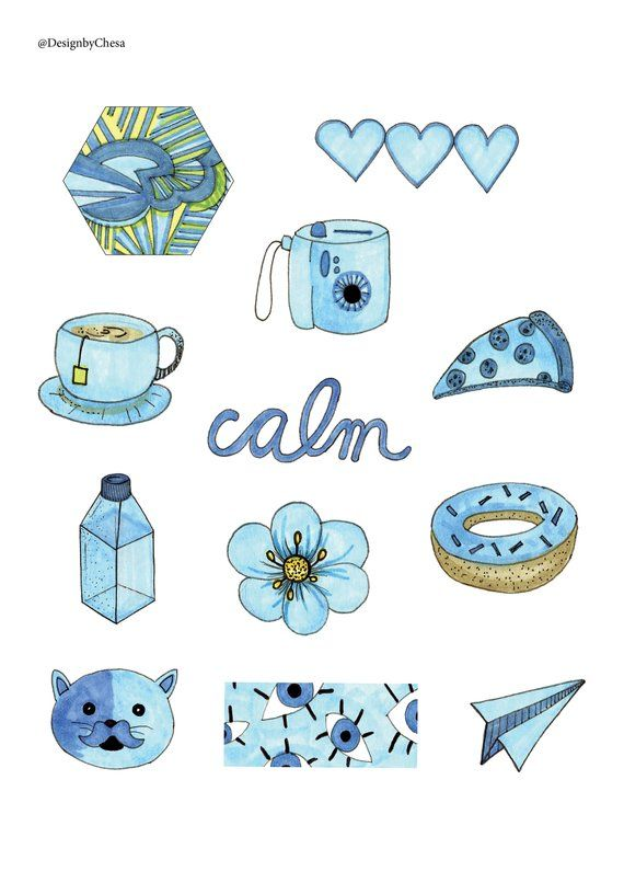 Blue aesthetic sticker pack | ดูเดิ้ลอาร์ท ภาพสเก็ต และ ...