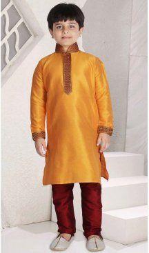 Dark Orange Color Poly Slub Dupion Boys Readymade Kurta Pajama | FH5514-11392800 Follow us @heenastyle  #kidswear #ethnicwear #indianoutfits #traditionalwear #babyboys #designer #kidsclothing #wedding #fashion #children #apparel #festivals #kurtapajama #indianfashion #kurtapyjama #ethnicclothes #boyskurtapajama #partywear #pinkblueindia #boyschuridarkurta #boys #kidskurta #boykurtaonline #heenastyle