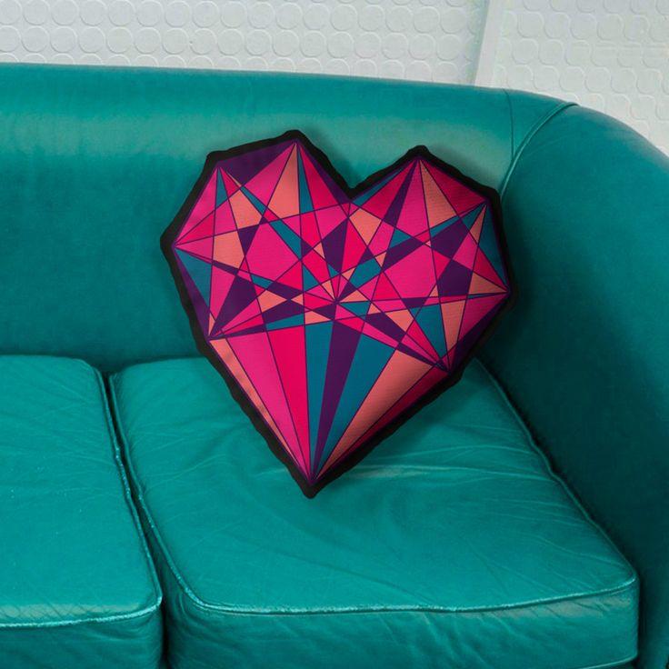 Cojín decorativo en forma de corazón y diamante, regalo para el día del amor y amistad. 14 de Febrero. San Valentín.  Diseño psicodélico. de ARTEFRACTO en Etsy