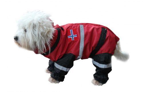 Dogs of Norway regndress / parkdress i god kvalitet. Dressen beskytter hunden mot regn, søle, snø og er vindtett og vannavstøtende (nesten vanntett).Hundedressen er foret med silkestoff, har lange ben og lang hals. Den har glidlås på ryggen for å beskytte bryst og mage bedre, og har strikk to steder nederst på bena. I tillegg har den strikk med strammer i halsen, både øverst og nederst og ved buken. Den har refleksbånd og flaggdekor på ryggen. StrRygg-bryst-Frem...