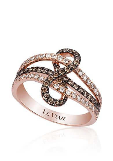 le vian chocolate diamond and vanilla diamond ring in 14k strawberry gold - Chocolate Diamond Wedding Rings