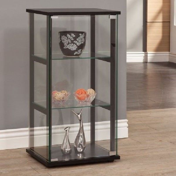 Knick Knack Cabinet Wall Small Curio Glass Showcase Collectible Display Shelves Coastercompany Traditional Coaster Furniture Glass Curio Cabinets Furniture