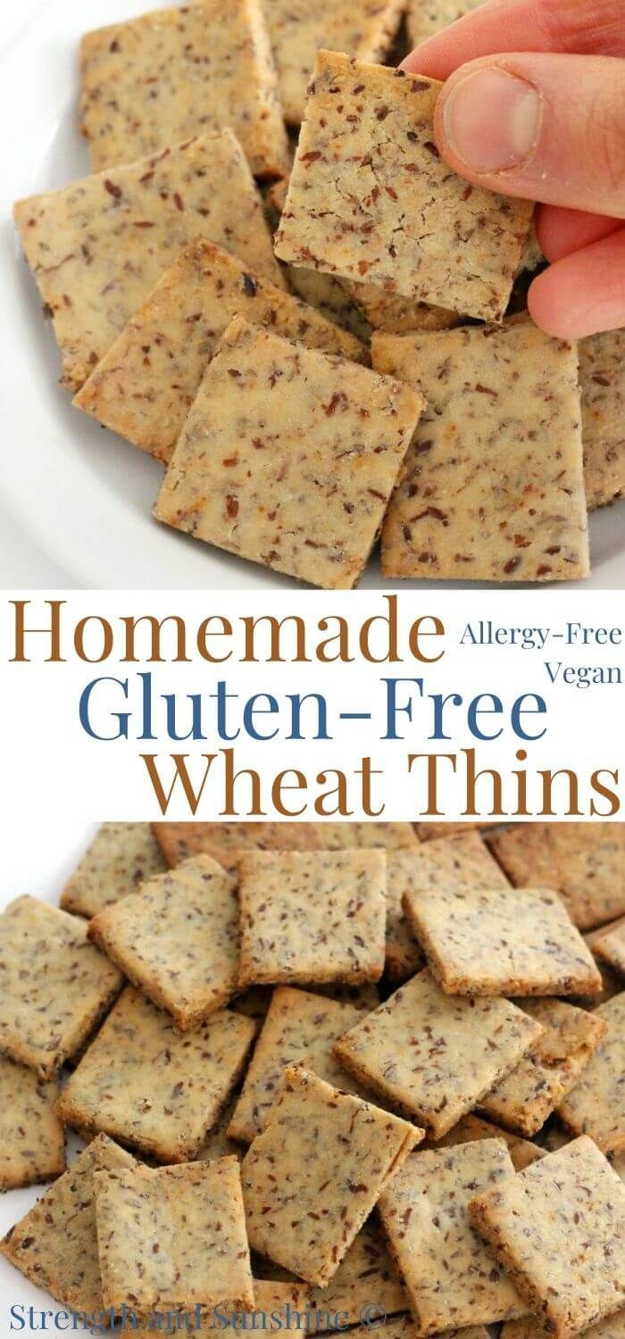 Homemade Gluten Free Wheat Thins Vegan Allergy Free Recipe Food Wheat Thins Healthy Crackers