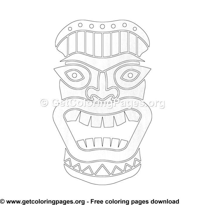 Tiki Mask 5 Coloring Pages Tiki Mask Coloring Pages Free