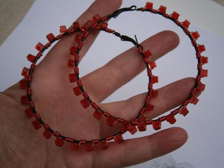 Große Creolen,rot von kunstpause auf DaWanda.com