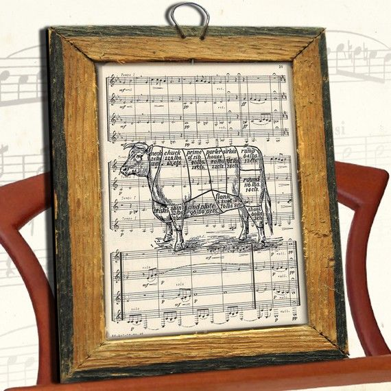 Cool Beef CUTS of MEAT cow illustration art print over an upcycled sheet music page