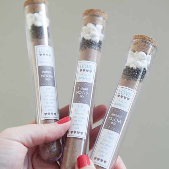In this tutorial we are sharing a super cute idea for mocha mix wedding favors + a delicious instant mocha mix recipe!