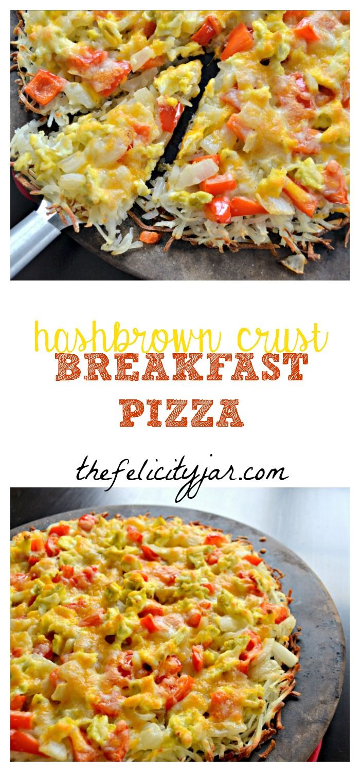 A delicious breakfast pizza made with a hash brown crust and is gluten free! // The Felicity Jar